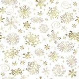 Zusammenfassungs-Weihnachtsnahtloses Muster mit goldenen Schneeflocken lizenzfreies stockfoto