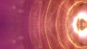 Zusammenfassungsanimation der Schleife 3d von Glühenpartikeln mit Schärfentiefe, bokeh und helle Strahlen für abstrakten Hintergr stock abbildung