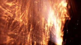 Zusammenfassungsanimation der Schleife 3d von Glühenpartikeln mit Schärfentiefe, bokeh und helle Strahlen für abstrakten Hintergr stock video
