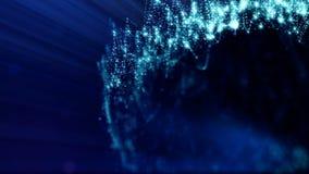 Zusammenfassungsanimation der Schleife 3d von Glühenpartikeln mit Schärfentiefe, bokeh und helle Strahlen für abstrakten Hintergr stock video footage