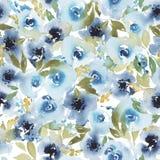 Zusammenfassungsaquarell-Blumenmuster mit blauer Rose stock abbildung