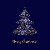 Zusammenfassungsbaum Karte der frohen Weihnachten gemacht von der Unternehmensidentitä5 der Schneeflocken Stockfotografie