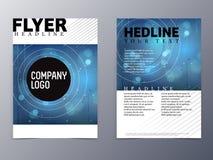 Zusammenfassungsblau mit grauer Linie Fliegerdesign-Schablonenvektor a4 Lizenzfreie Stockfotografie