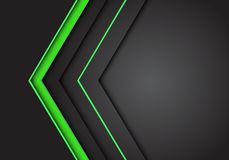 Zusammenfassungsgrüne helle Neonpfeilrichtung auf modernen futuristischen Hintergrundvektor des dunkelgrauen Leerstelleentwurfs stock abbildung