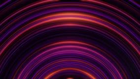 Zusammenfassungskreisneonlinien animation Pulsierende halbkreisförmige Neonlinien auf schwarzem Hintergrund Abstrakter Hintergrun lizenzfreie abbildung