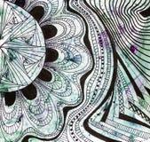 Zusammenfassungsschwarz-Blumenverzierung auf farbigem Papier lizenzfreies stockbild