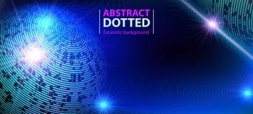 Zusammenfassungstechnologiefuturistischer blauer Neonradiallicht-Explosionseffekt Digital-Elementkreise Halbton stock abbildung