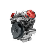 Zusammengebaute Maschine V2 des großen leistungsfähigen Motorrads lokalisiert Stockfoto
