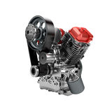 Zusammengebaute Maschine V2 des großen leistungsfähigen Motorrads lokalisiert Stockfotografie