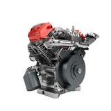 Zusammengebaute Maschine V2 des großen leistungsfähigen Motorrads lokalisiert Lizenzfreie Stockfotos