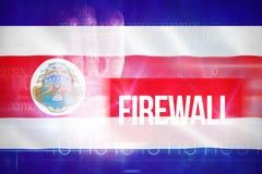 Zusammengesetztes Bild 3d der Brandmauer gegen blaues Technologiedesign mit binär Code Lizenzfreie Stockfotos