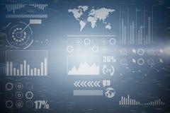 Zusammengesetztes Bild 3d der Verbindung punktiert auf blauem Hintergrund Lizenzfreies Stockfoto