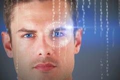 Zusammengesetztes Bild 3d des Abschlusses herauf Porträt des ernsten jungen Mannes Lizenzfreie Stockfotos