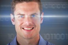 Zusammengesetztes Bild 3d des Abschlusses herauf Porträt des glücklichen gutaussehenden Mannes Lizenzfreie Stockfotos