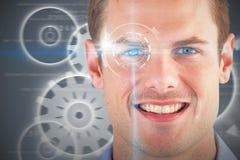 Zusammengesetztes Bild 3d des Abschlusses herauf Porträt des lächelnden gutaussehenden Mannes Lizenzfreies Stockfoto