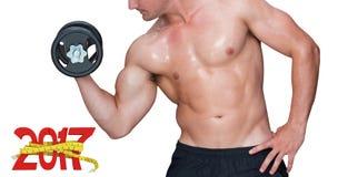 zusammengesetztes Bild 3D des anhebenden Dummkopfs des Bodybuilders Lizenzfreies Stockfoto