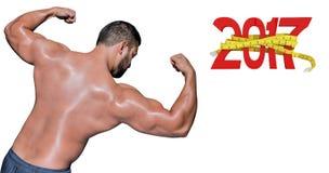 zusammengesetztes Bild 3D des Bodybuildermannes seine Muskeln biegend Stockbild