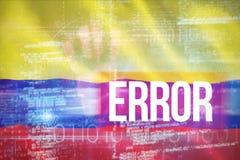 Zusammengesetztes Bild 3d des Fehlers gegen blaues Technologiedesign mit binär Code Stockfoto