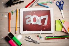 Zusammengesetztes Bild 3D des guten Rutsch ins Neue Jahr 2017 Stockbilder