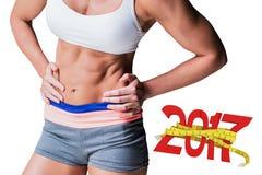 zusammengesetztes Bild 3D des Mittelteils des muskulösen weiblichen Athleten Stockbilder