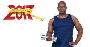 zusammengesetztes Bild 3D des muskulösen Mannes trainierend mit Dummkopf Lizenzfreie Stockbilder