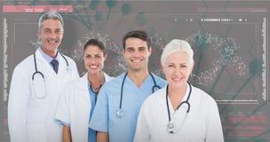 zusammengesetztes Bild 3D des Porträts des überzeugten Ärzteteams stockfoto