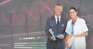 zusammengesetztes Bild 3D des Porträts des Mannes und der Ärztinnen mit ärztlichen Attesten Stockfotografie