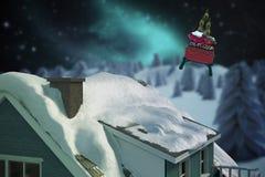 zusammengesetztes Bild 3D des Schnees auf Dach des Hauses Lizenzfreies Stockbild
