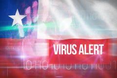 Zusammengesetztes Bild 3d des Virusalarms gegen blaues Technologiedesign mit binär Code Stockfotos