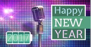 Zusammengesetztes Bild 3D Digital des Grußes und des Mikrofons des neuen Jahres 3d 2017 Stockfotografie