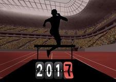 zusammengesetztes Bild 3D von 2017 mit Schattenbild eines Athleten, der über Hürde springt Lizenzfreie Stockbilder