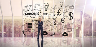 Zusammengesetztes Bild der überzeugten Geschäftsfrau Stockbilder