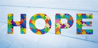 Zusammengesetztes Bild der Autismusmitteilung der Hoffnung Stockfoto