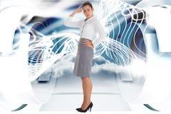 Zusammengesetztes Bild der besorgten Geschäftsfrau Lizenzfreies Stockfoto