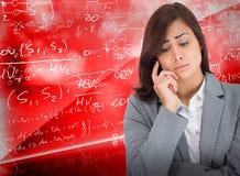 Zusammengesetztes Bild der besorgten Geschäftsfrau stockbilder
