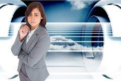 Zusammengesetztes Bild der besorgten Geschäftsfrau Lizenzfreie Stockbilder