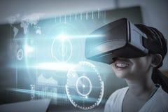Zusammengesetztes Bild der blauen Technologieschnittstelle mit Glühen Stockfoto