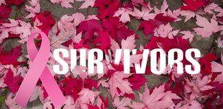 Zusammengesetztes Bild der Brustkrebs-Bewusstseinsmitteilung stockfoto