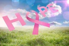 Zusammengesetztes Bild der Brustkrebs-Bewusstseinsmitteilung der Hoffnung Stockbild