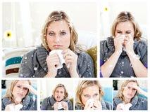 Zusammengesetztes Bild der Collage einer Frau, die eine Kälte hat Lizenzfreie Stockfotos