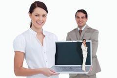 Zusammengesetztes Bild der denkenden Geschäftsfrau Stockfoto