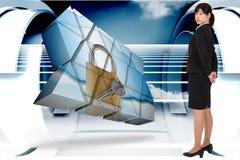 Zusammengesetztes Bild der ernsten Geschäftsfrau Lizenzfreie Stockbilder