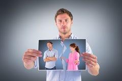 Zusammengesetztes Bild der Frau argumentierend mit gefühllosem Mann Stockfotografie