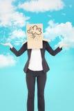 Zusammengesetztes Bild der Geschäftsfrau mit dem Kasten obenliegend Lizenzfreie Stockbilder