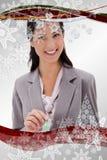 Zusammengesetztes Bild der Geschäftsfrau mit Geld und Sparschwein Stockbilder