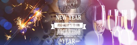 Zusammengesetztes Bild der guten Rutsch ins Neue Jahr-Mitteilung Stockfoto