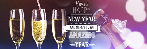 Zusammengesetztes Bild der guten Rutsch ins Neue Jahr-Mitteilung Stockfotografie