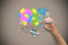Zusammengesetztes Bild der Hand einen silbernen Stift halten Stockfoto