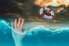 Zusammengesetztes Bild der Hand mit den Fingern verbreitete heraus 3d Stockfotografie