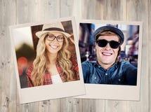 Zusammengesetztes Bild der herrlichen lächelnden blonden Hippie-Aufstellung Stockfotos